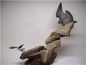 LIFESIZE PEREGRINE FALCON AND VIOLET GREEN SWALLOWS